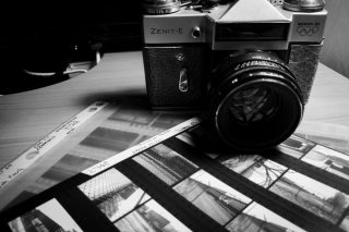 My Zenit E with contact sheet