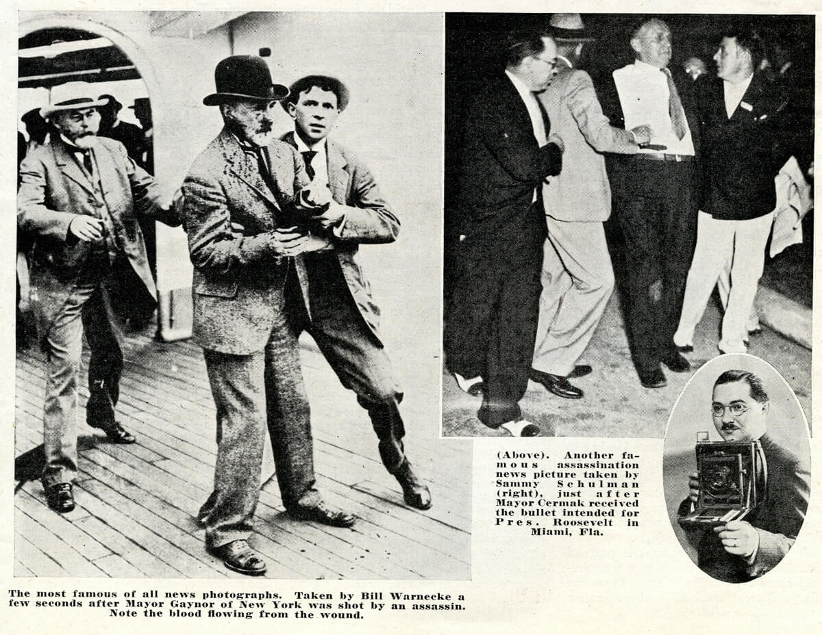 Popular Photo Issue 1, May 1937: Exciting Experiences of a Newspaper Photographer - Mayors Gaynor and Cermak