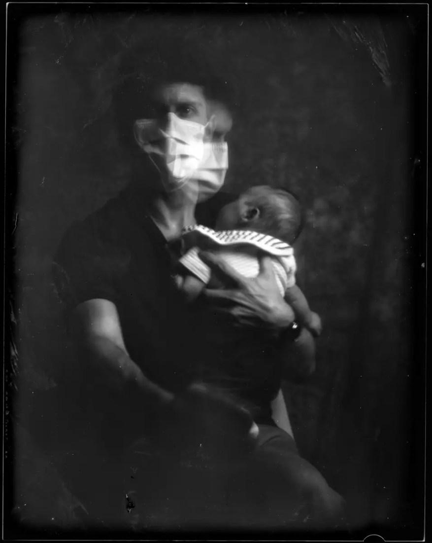 Quarantine Self Portrait, Speed Graphic, J Lane Speed Glass Plate