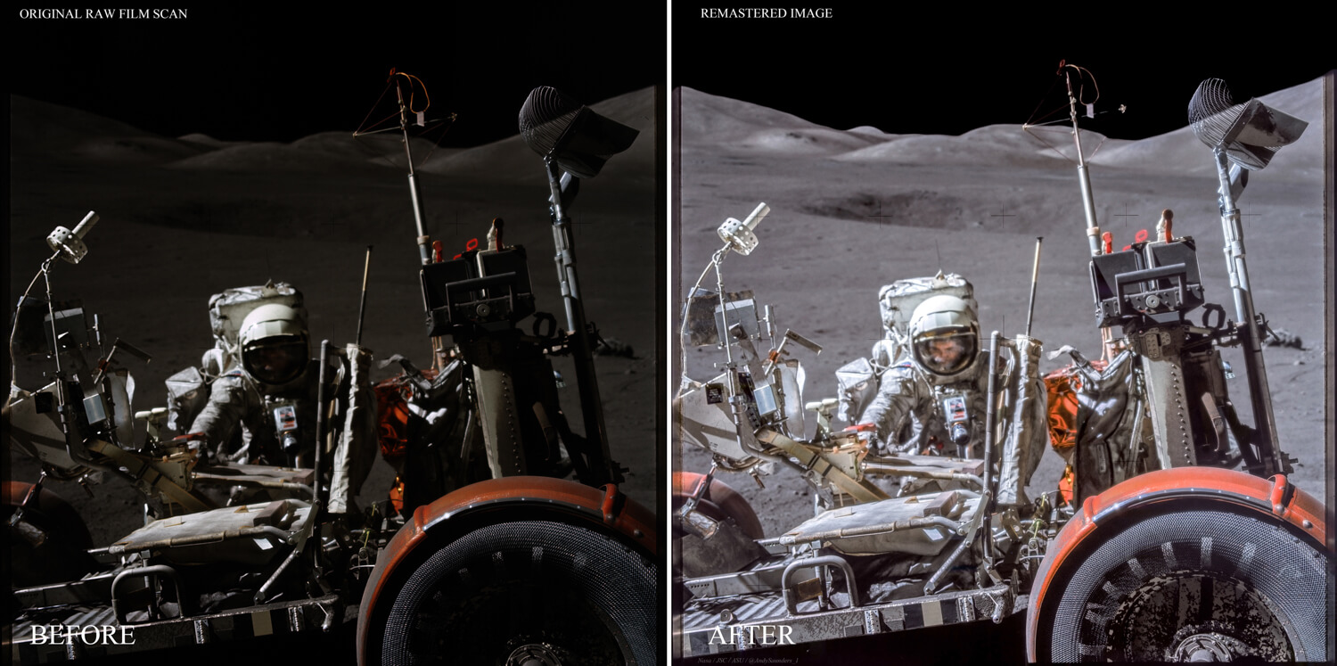 This image of Jack Schmitt at the Lunar Rover on Apollo 17 is probably the clearest known of an Apollo astronauts face on the moon. Reprocessing reveals this detail more clearly.