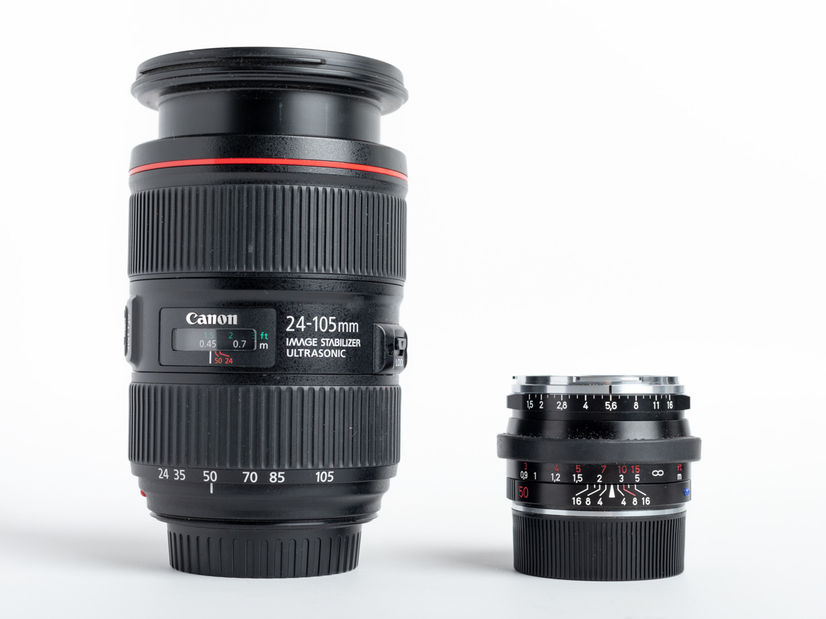 Carl Zeiss C Sonnar T* 1,5/50 ZM and Canon 24-105mm EF lens comparison
