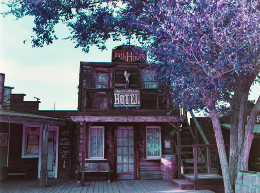 an old western style hotel with a purple tree in front of it