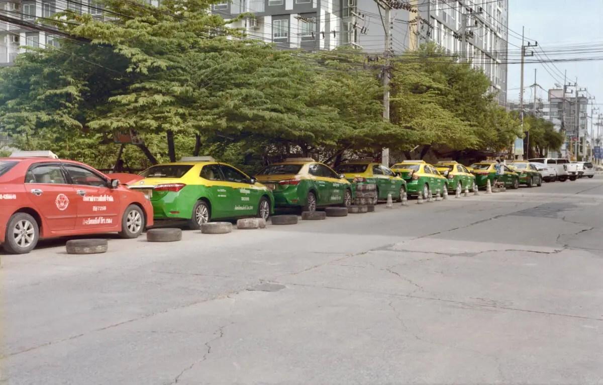Taxi rank Street scene - Salaya, Nakhon Pathom - 5 Frames… Of a gradually re-opened Bangkok on an Agfa Record III (120 Format / EI 160 / Kodak Portra 160) - by Graham Rogers