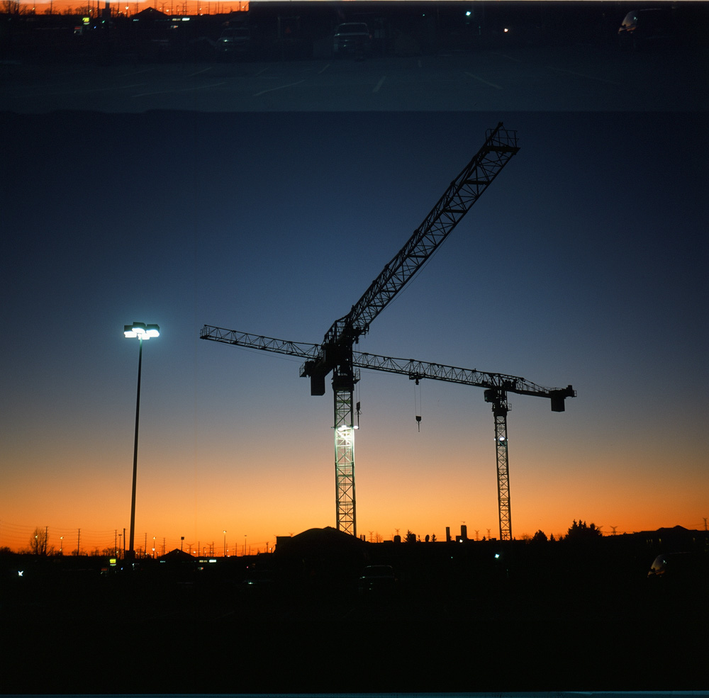 Construction Cranes - Fujifilm Provia 100F + Rolleicord III, unknown aperture and shutter speed