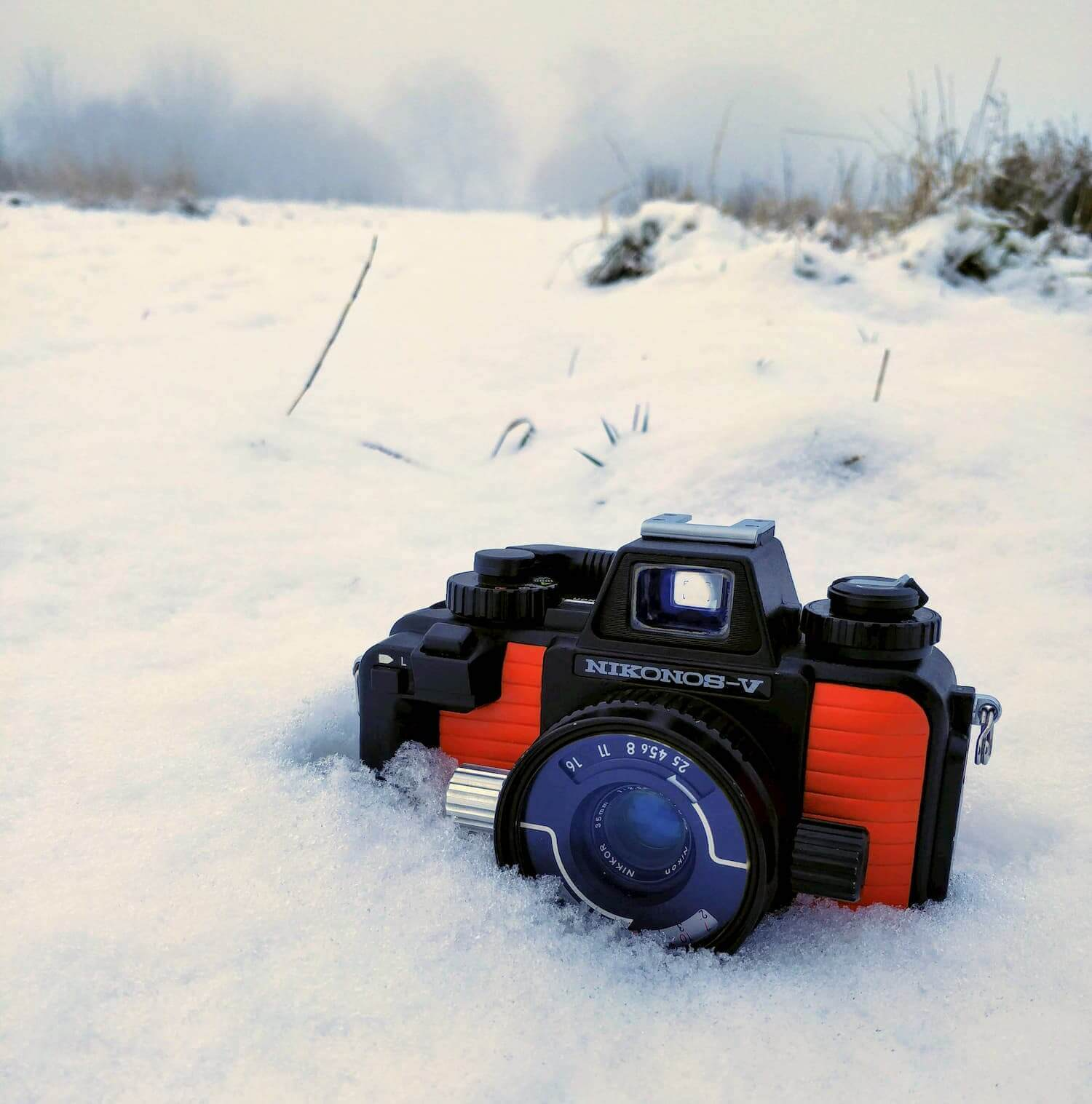Nikonos V in the snow (front)