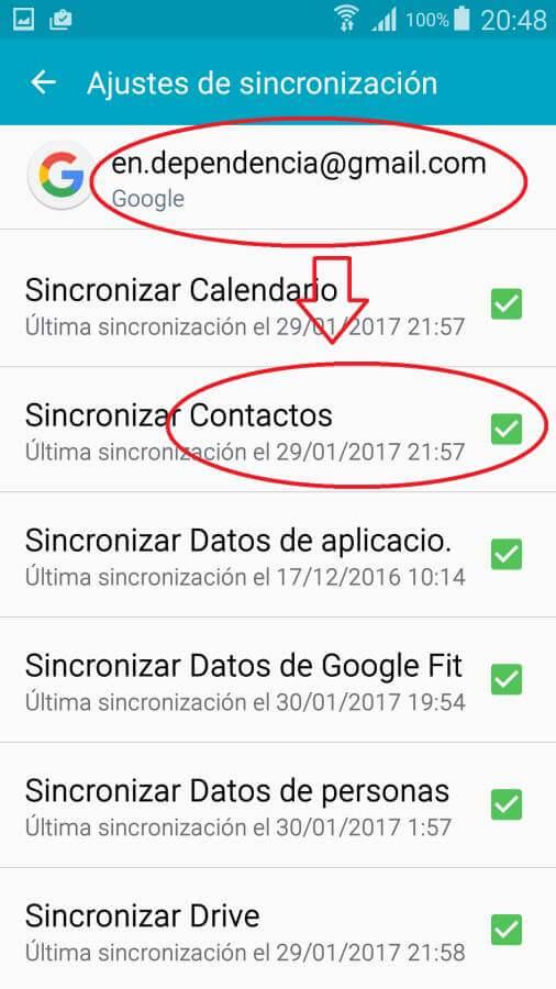 Ajustes de sincronización de Cuentas en Android