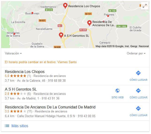Google. Resultados geolocalizados