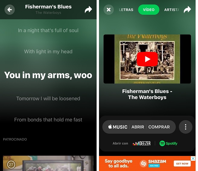 Pantallas de Shazam. Letras y Video