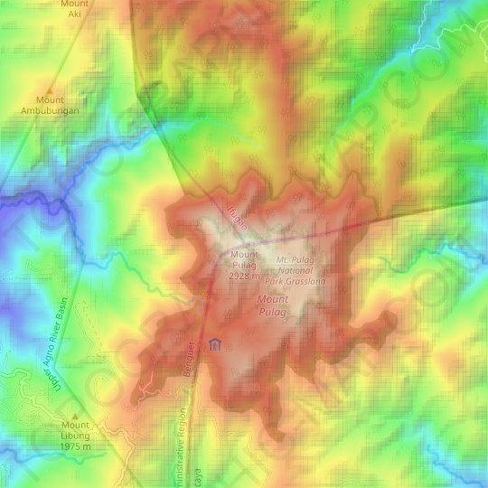 Mount Pulag topographic map. elevation. relief