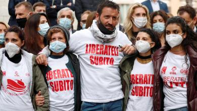 Photo of Families of Italian fishermen detained in Libya protest outside Italy's Parliament