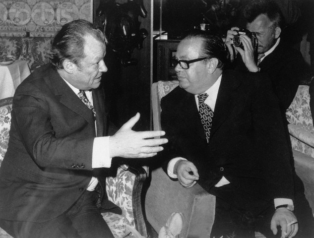 April 1973, Belgrade, Serbia --- Original caption: Belgrade: Stane Dolanc (R) chats with chancellor Willy Brandt of German Federal Republic in April 1973 in Belgrade, during chancellor Brandt's state visit to Belgrade. --- Image by © Bettmann/CORBIS