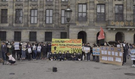 People gathered at the Dam Square at the rally to support Hong Kong protest's five demands.