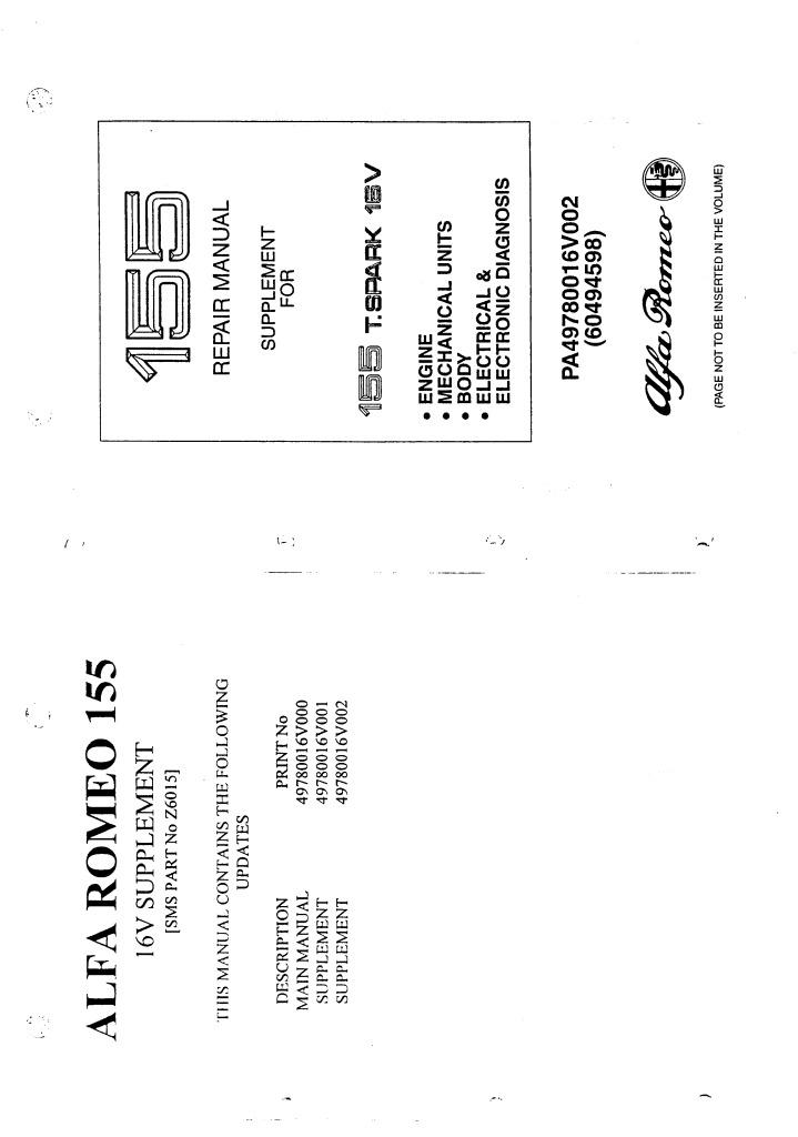 alfa romeo 155 1994 workshop manual supplement tspark 16v