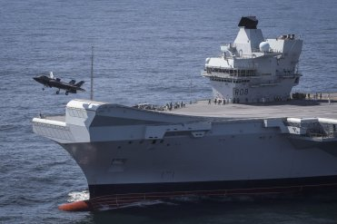 UK Royal Navy F-35B on HMS Queen Elizabeth for the first time