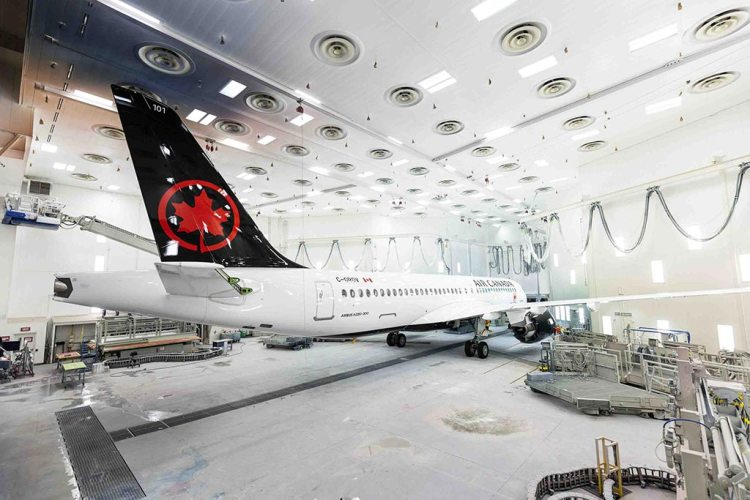 Air Canada A220-300 in paint shop