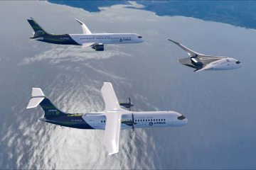 ZEROe concept aircraft formation flight