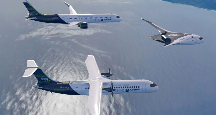 ZEROe concept aircraft formation flight