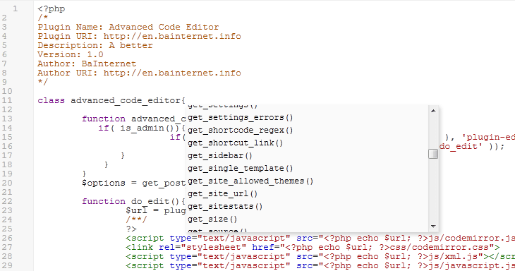 WordPress Advanced Code Editor