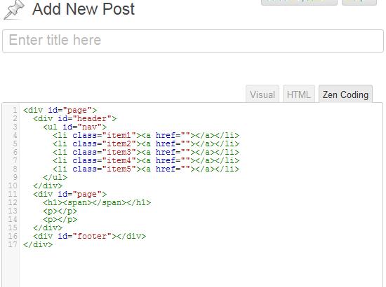post editor zen coding
