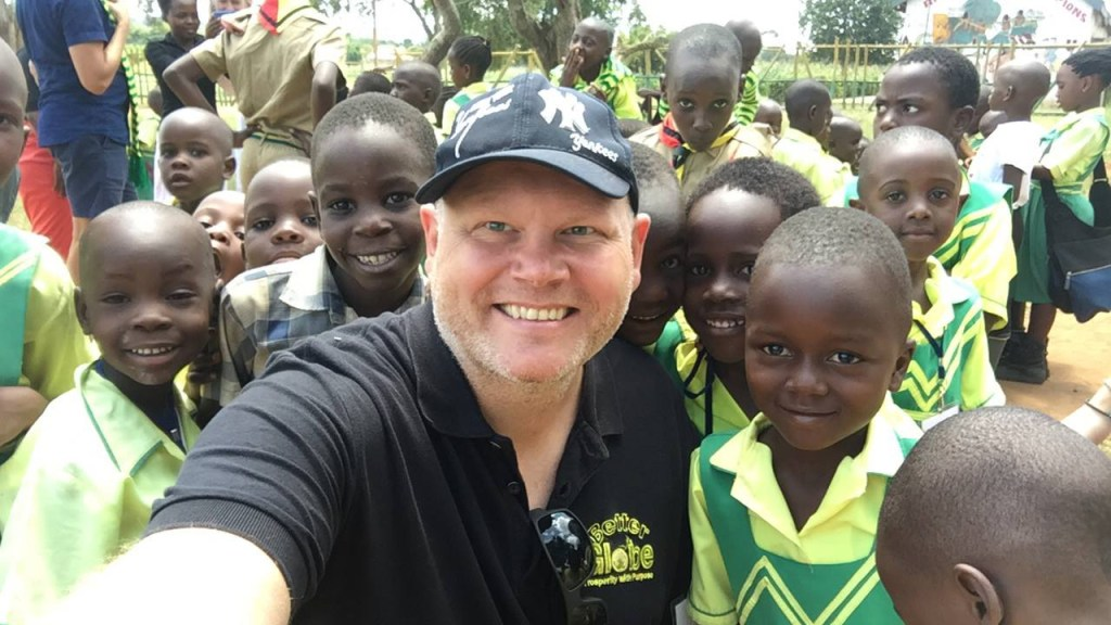 Johan from Stockholm with the children from the Equator-school.