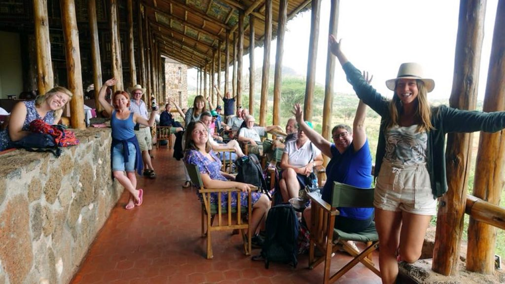The lodge's main terrace with a view of the water hole. Here with the whole group. 180701