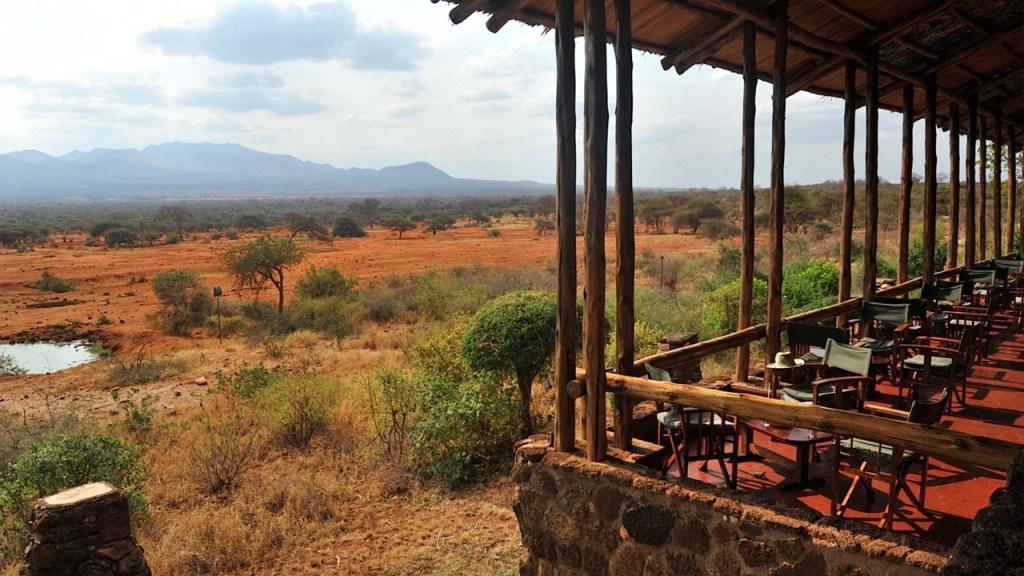 The terrace at Kilaguni Safari Lodge with the water hole