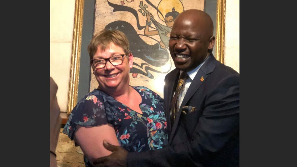 Kristina, one of our customers, with the minister. 180702
