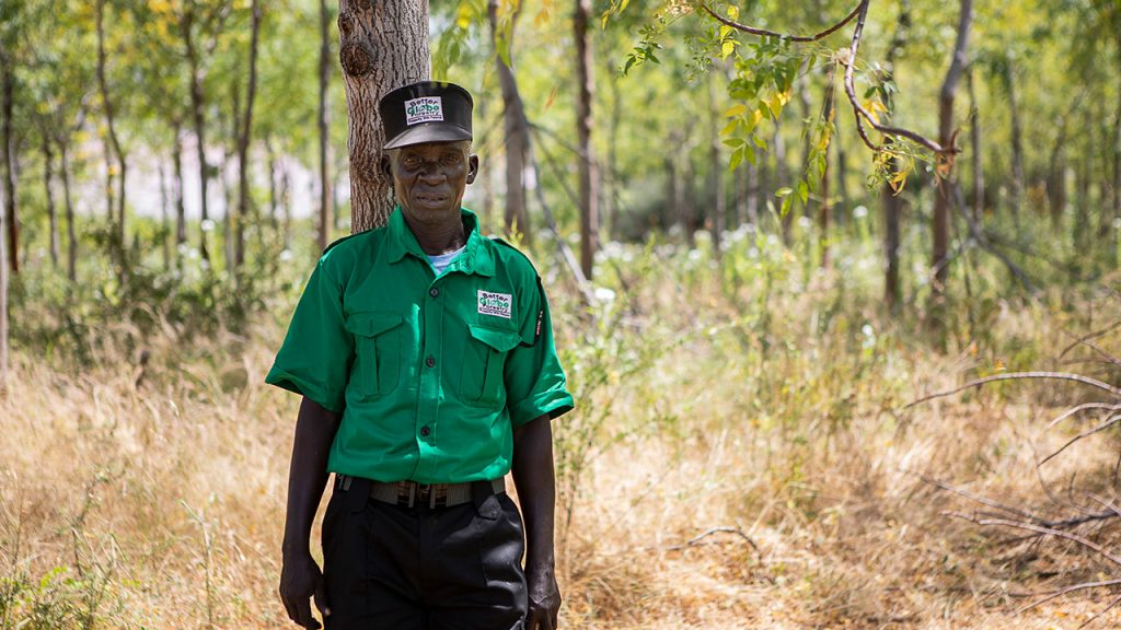 One of the guards on the plantation whose primary task is to protect the trees against goats and other animals that eat the seedlings. July 2018