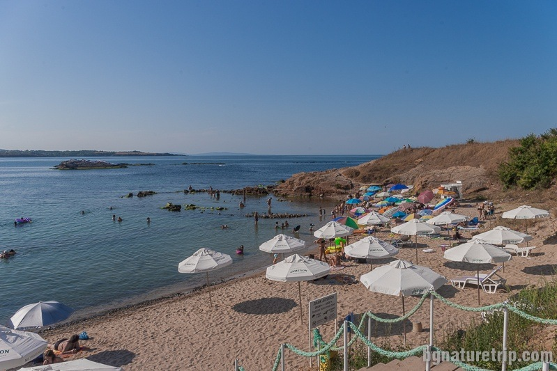 The southern part of Ahtopol beach. To the left are the rocks where go snorkel divers.