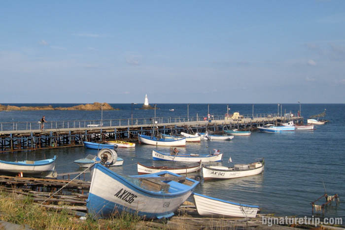 Ahtopol - fishing port with a lighthouse in the distance