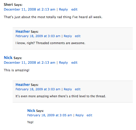 Threaded comments with the Contempt theme