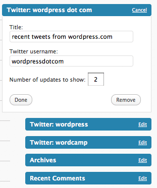 wordpress.com twitter widget