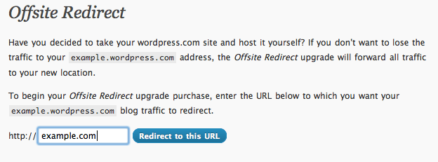 Offsite Redirect form