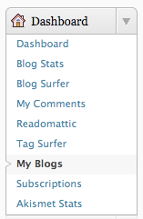 Screenshot: dashboard, my blogs