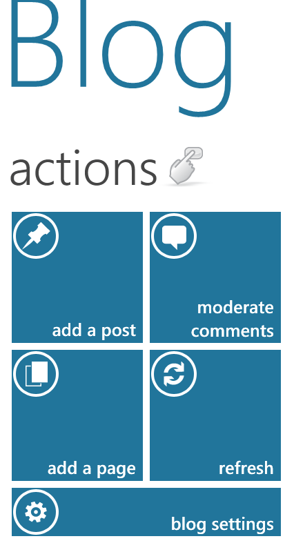 Screenshot: Action view