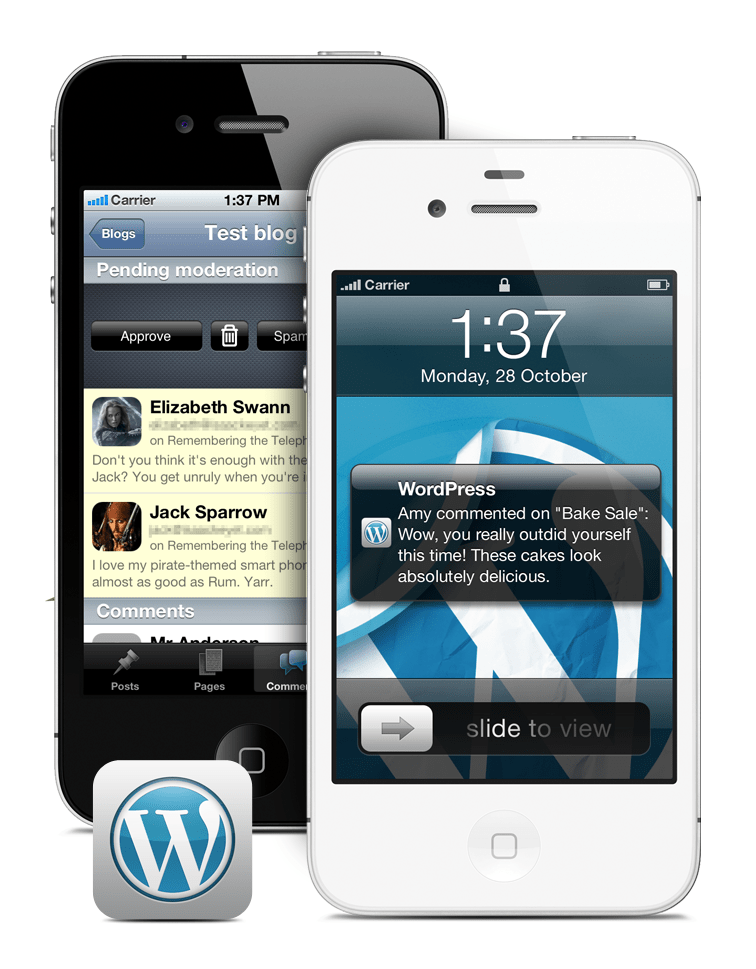 WordPress for iOS Push Notifications and Swipe-to-moderate