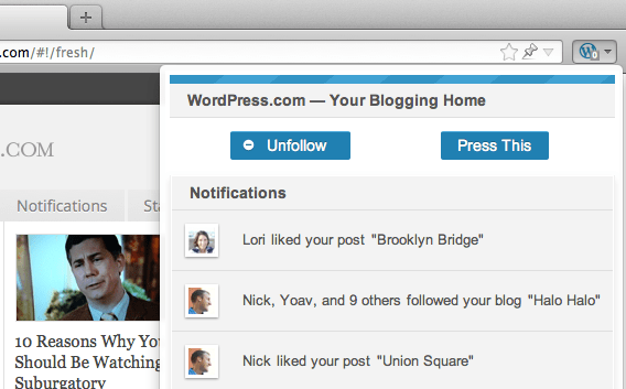 A popup opens when the WordPress.com toolbar button is clicked, displaying recent notifications, including comments, likes, and new followers.