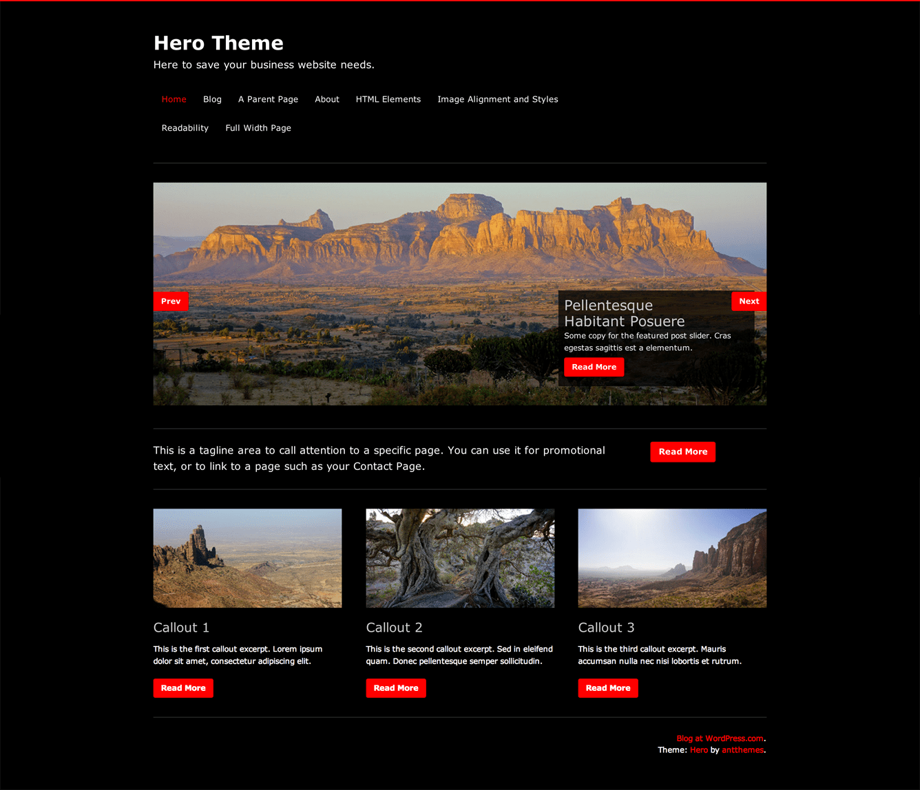Hero's featured content-rich Front Page template