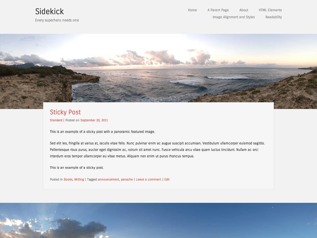 Sidekick テーマのパノラマアイキャッチ画像