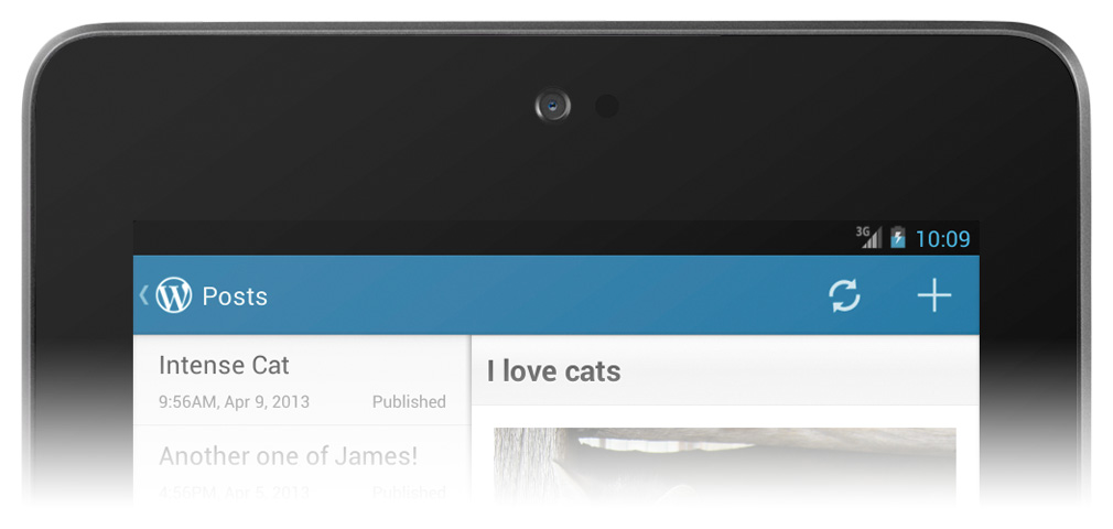Version 2.3 of WordPress for Android: the new, blue action bar