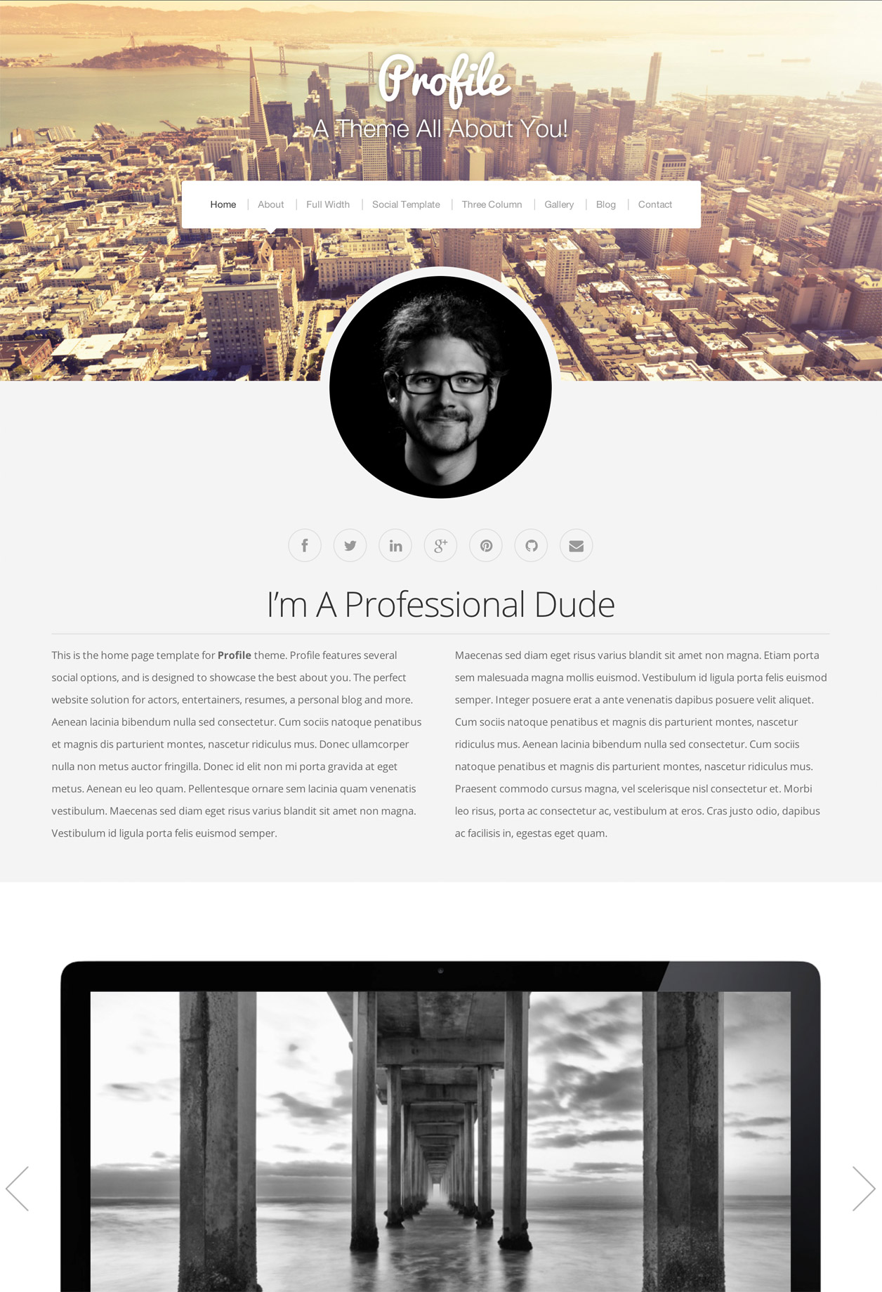 Profile's Home Page template