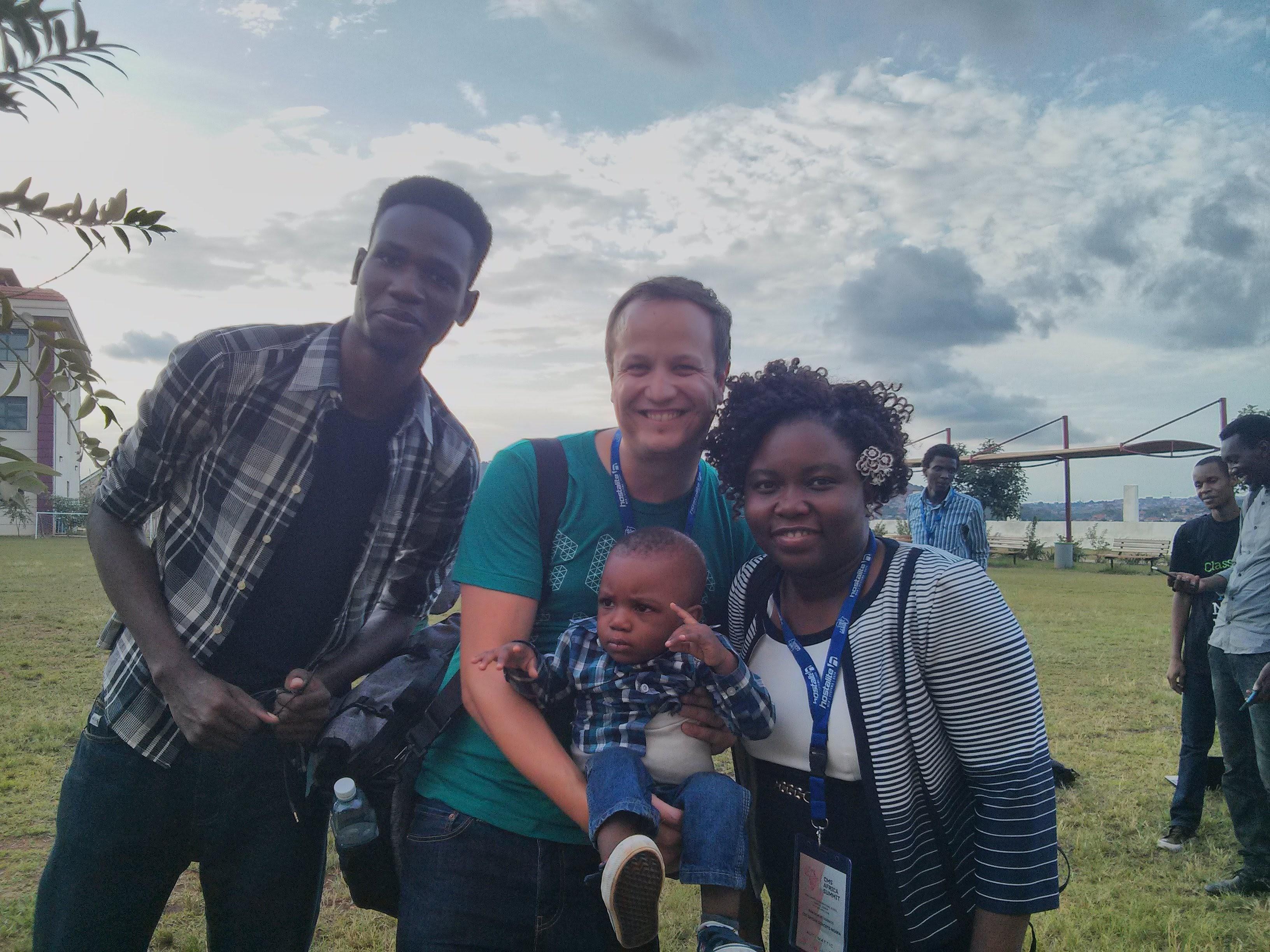 Job with fellow speaker Adedayo Ajibike and her family.