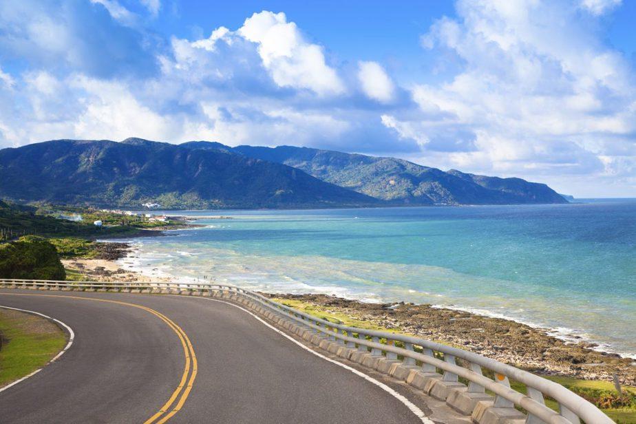 A road in Taiwan nearby a beach