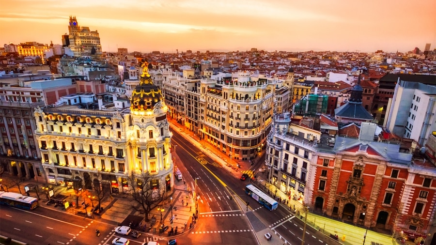 Madrid as background for zoom meeting rooms
