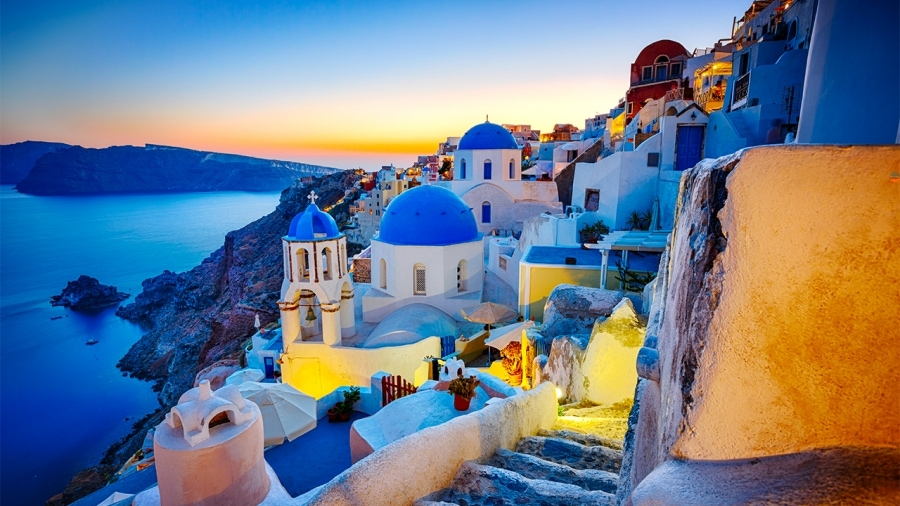 Santorini Greece as virtual background for zoom meeting rooms