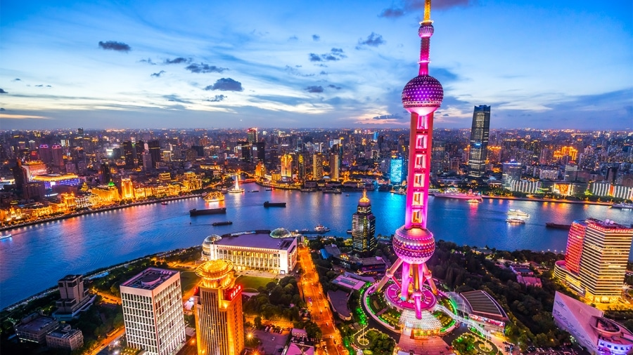 Shanghai, China as background for zoom meeting rooms