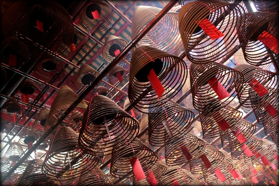 Incense coils in temple