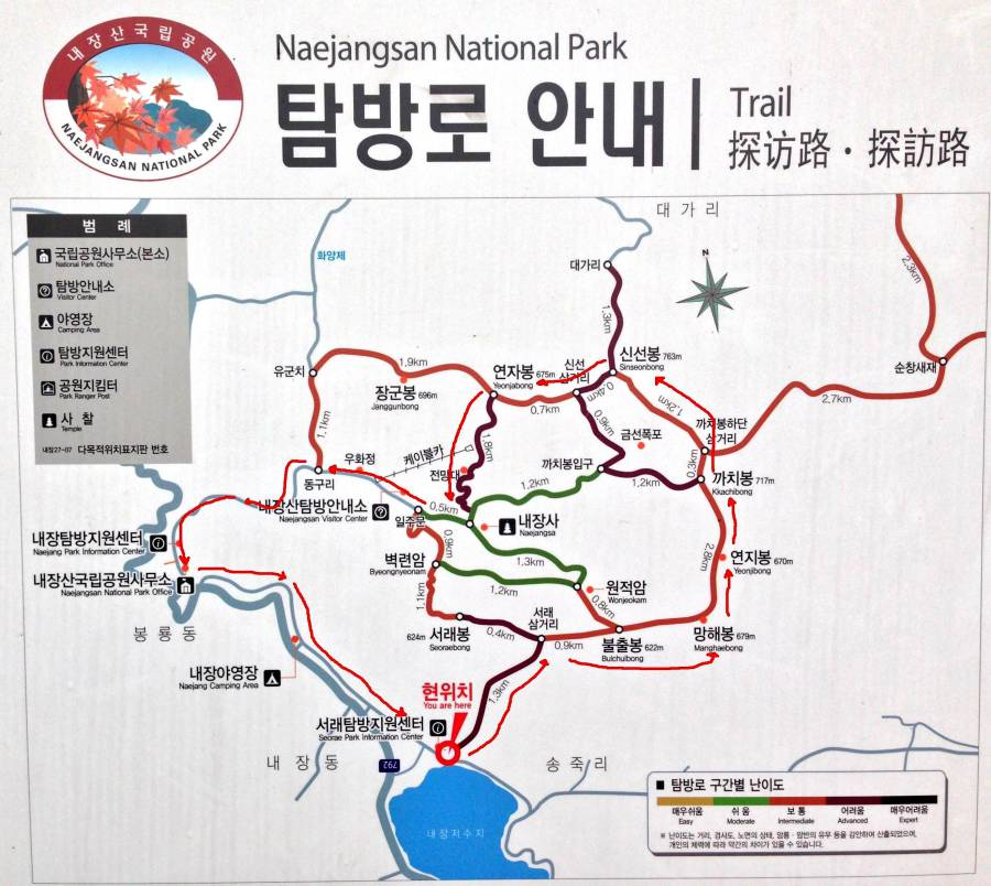 Map of Naejangsan National Park (image via Klimbing Korean Mountains, WordPress)