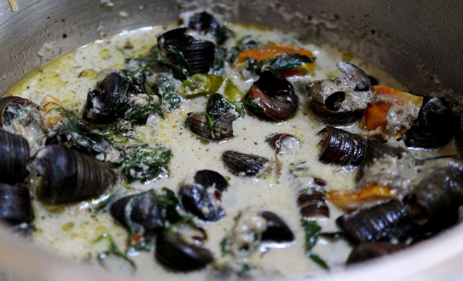 Ginataang Kuhol or Snails in Coconut Milk