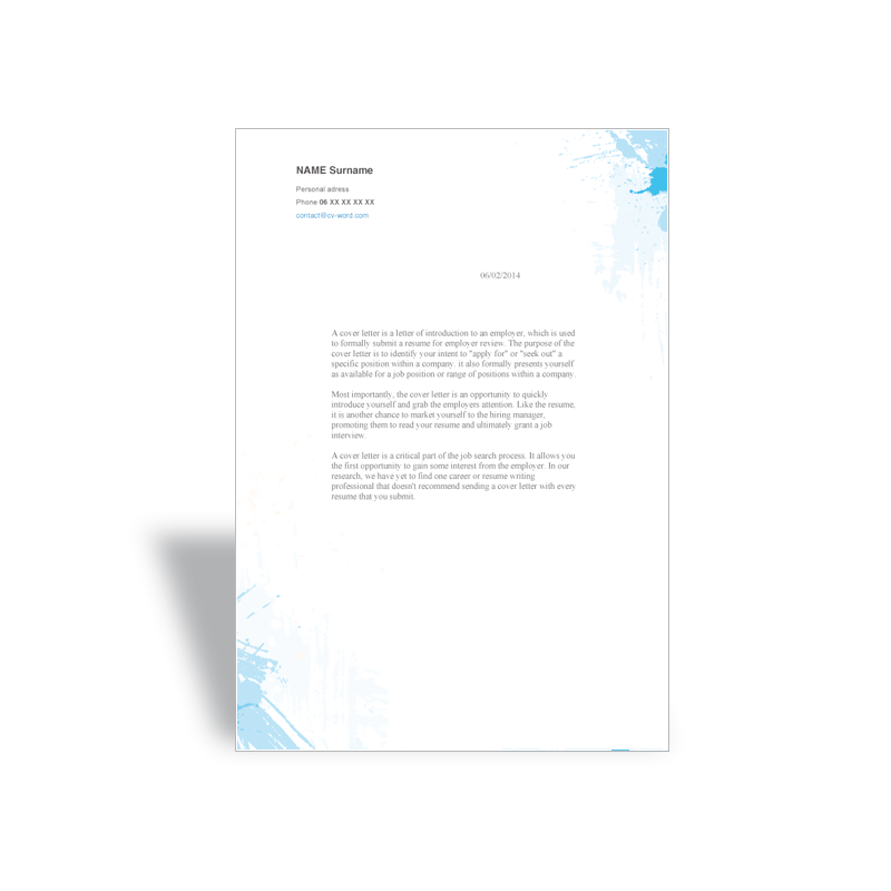 Download Word cover letter template painter